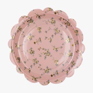 Beatrix papperstallrik 8-pack rosa